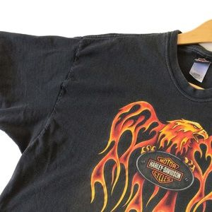 🏷 Harley Davidson graphic eagle flame t-shirt
